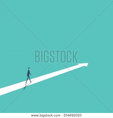 Business strategy, plan, decision, direction vector concept with businessman walking forward to success and growth. Eps10 vector illustration.