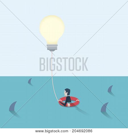 Businessman saved by the creative idea. Business vector concept of finding solution, overcome obstacles, challenges. Eps10 vector illustration.