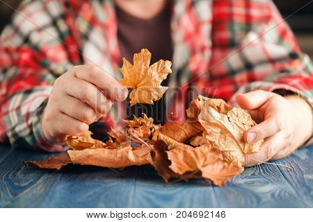 Heap of autumn leaf in male hands