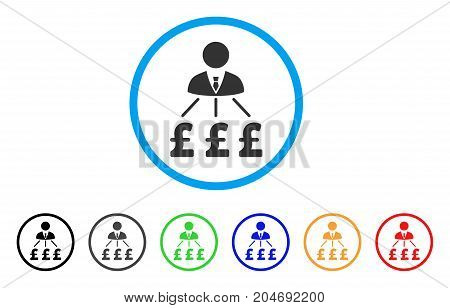 Businessman Pound Expenses rounded icon. Style is a flat businessman pound expenses gray symbol inside light blue circle with black, gray, green, blue, red, orange color versions.