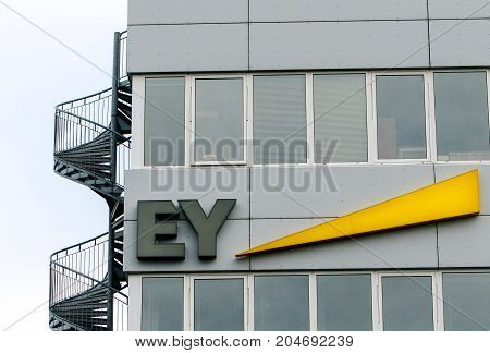 Reykjavik Iceland August 24 2017: Ernst and Young corporate signage is attached to a building in Reyjkjavik.