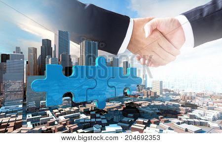 Merger And Acquisition Business Concept, Join Puzzle Pieces