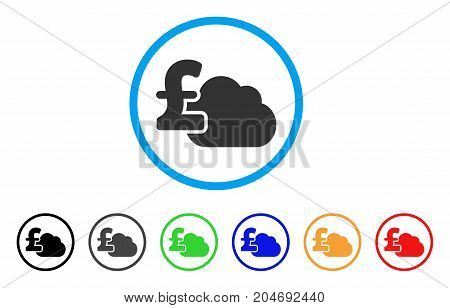 Cloud Pound Banking rounded icon. Style is a flat cloud pound banking gray symbol inside light blue circle with black, gray, green, blue, red, orange variants.