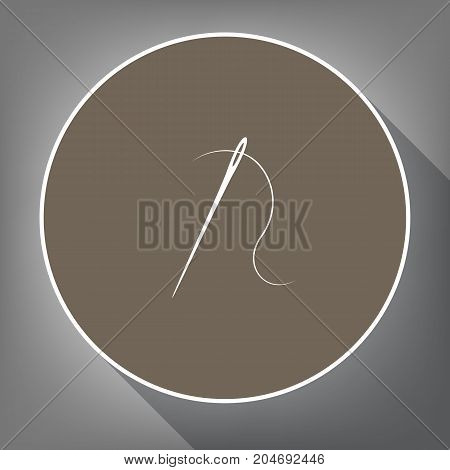 Needle with thread. Sewing needle, needle for sewing. Vector. White icon on brown circle with white contour and long shadow at gray background. Like top view on postament.