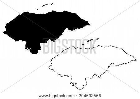 Honduras map vector illustration , scribble sketch Honduras