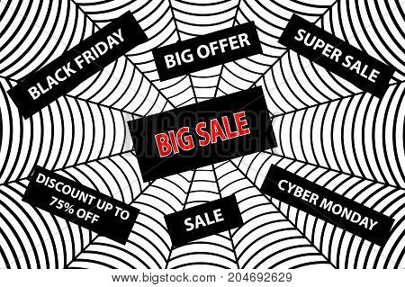 Spider web - black friday and cyber monday , Abstract vector - black friday sale - background