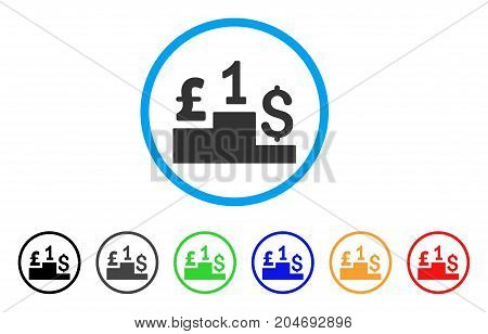 Dollar Pound Competition rounded icon. Style is a flat dollar pound competition grey symbol inside light blue circle with black, gray, green, blue, red, orange color versions.