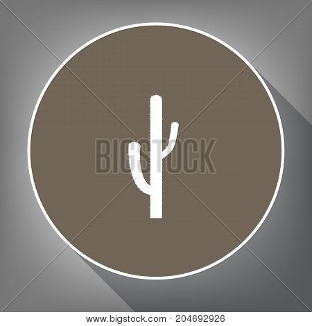 Cactus simple sign. Vector. White icon on brown circle with white contour and long shadow at gray background. Like top view on postament.