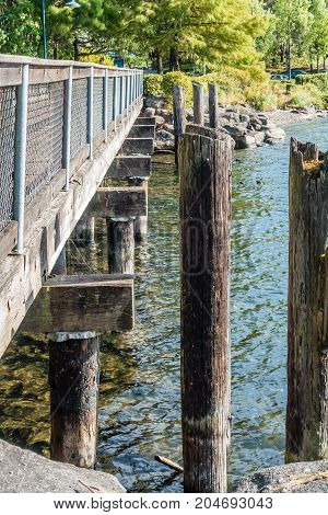 A view of a walking bridge at Gene Coulon Park in Renton Washington.