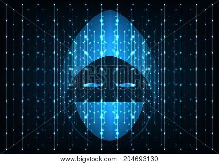 Internet crime concept. Hacker icon over a screen big data dark blue digital background.