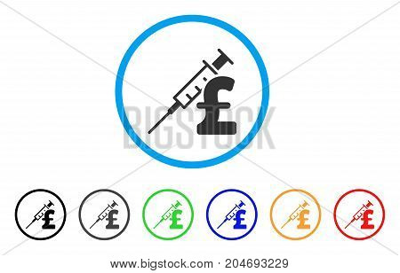 Drug Pound Business rounded icon. Style is a flat drug pound business gray symbol inside light blue circle with black, gray, green, blue, red, orange color versions.