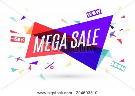 Ribbon banner with text Mega Sale for discount and promotion. Colorful sticker, banner for sale, shopping, market, business theme. Geometric design elements for flyer, poster. Vector Illustration