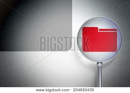 Finance concept: magnifying optical glass with Folder icon on digital background, empty copyspace for card, text, advertising, 3D rendering