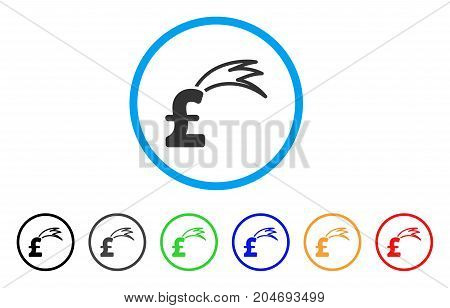 Fortune Falling Pound rounded icon. Style is a flat fortune falling pound grey symbol inside light blue circle with black, gray, green, blue, red, orange variants.