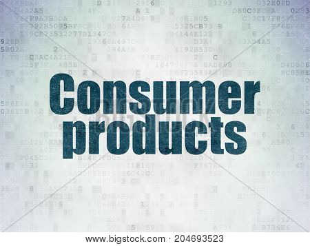 Business concept: Painted blue word Consumer Products on Digital Data Paper background