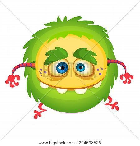 Cartoon laughing green monster. Vector illustration of green monster isolated. Halloween design