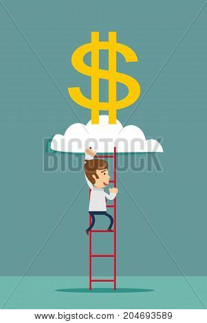 ladder to a money cloud. Stock flat vector illustration.