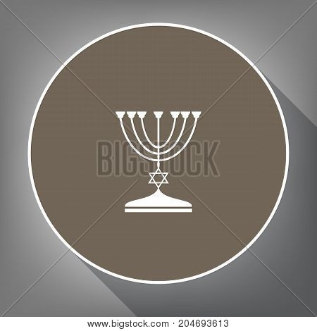 Jewish Menorah candlestick in black silhouette. Vector. White icon on brown circle with white contour and long shadow at gray background. Like top view on postament.