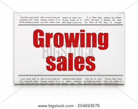 Business concept: newspaper headline Growing Sales on White background, 3D rendering
