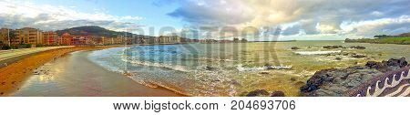 Castro Urdiales beach in Spain, panoramic view