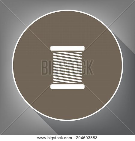 Thread sign illustration. Vector. White icon on brown circle with white contour and long shadow at gray background. Like top view on postament.