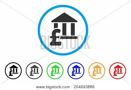 Library Pound Payment rounded icon. Style is a flat library pound payment grey symbol inside light blue circle with black, gray, green, blue, red, orange color versions.