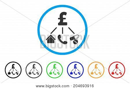 Life Pound Expenses rounded icon. Style is a flat life pound expenses grey symbol inside light blue circle with black, gray, green, blue, red, orange versions.