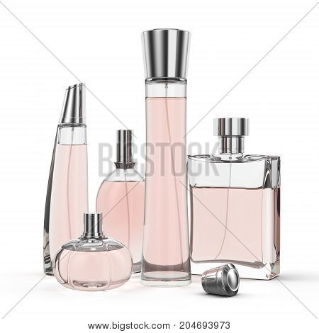 3D rendering group of perfume single-colored bottles on a white background