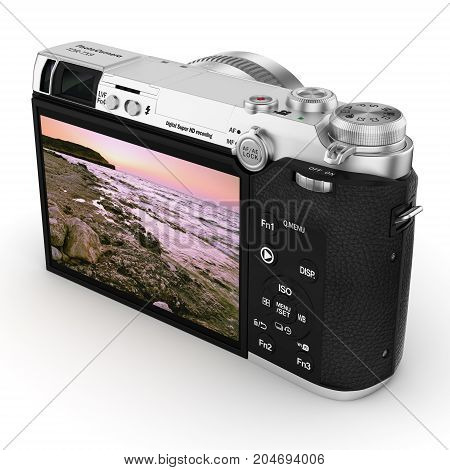 3d rendering modern digital camera on a white background