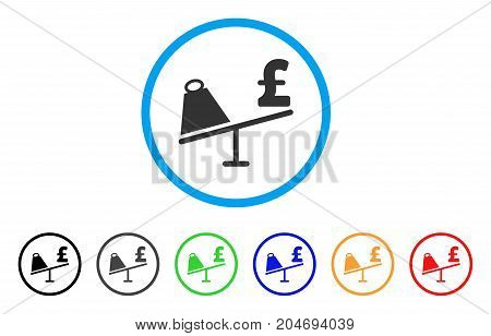 Market Pound Price Swing rounded icon. Style is a flat market pound price swing gray symbol inside light blue circle with black, gray, green, blue, red, orange color versions.