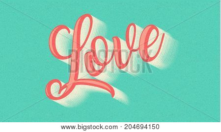 Love You text hand drawn lettering on space background. 70s, 70's. banner. Lovely text follow your heart romantic type old style. I love You have greeting sign message. Easy editable for Your design.