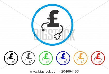 Medical Pound Business rounded icon. Style is a flat medical pound business grey symbol inside light blue circle with black, gray, green, blue, red, orange color versions.