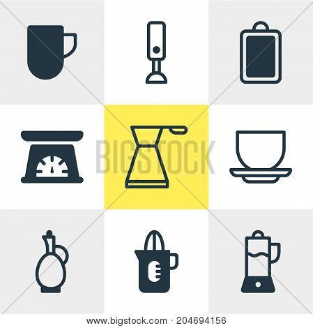 Editable Pack Of Coffee Cup, Fruit Squeezer, Carafe And Other Elements.  Vector Illustration Of 9 Restaurant Icons.