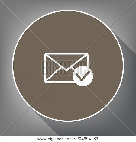Mail sign illustration with allow mark. Vector. White icon on brown circle with white contour and long shadow at gray background. Like top view on postament.