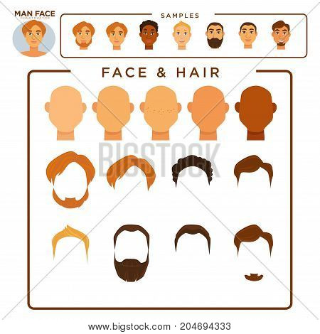 Man constructor with face and hair samples isolated cartoon flat vector illustrations set on white background. Various skin tones, modern hairstyles of all natural colors and thick brutal beards.