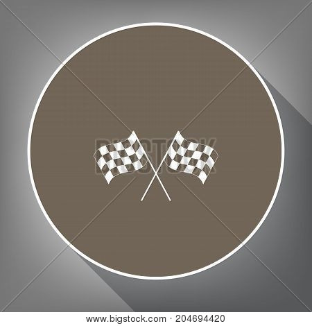 Crossed checkered flags logo waving in the wind conceptual of motor sport. Vector. White icon on brown circle with white contour and long shadow at gray background. Like top view on postament.
