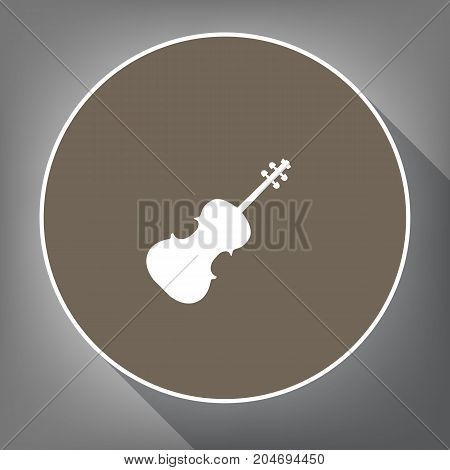 Violin sign illustration. Vector. White icon on brown circle with white contour and long shadow at gray background. Like top view on postament.