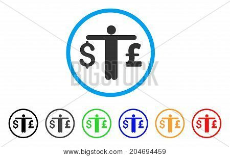 Person Compare Dollar Pound rounded icon. Style is a flat person compare dollar pound gray symbol inside light blue circle with black, gray, green, blue, red, orange color versions.