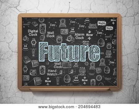 Time concept: Chalk Blue text Future on School board background with  Hand Drawing Time Icons, 3D Rendering