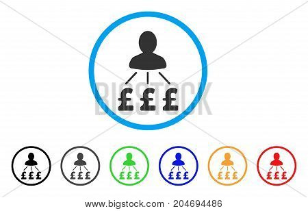 Person Pound Expenses rounded icon. Style is a flat person pound expenses gray symbol inside light blue circle with black, gray, green, blue, red, orange color versions.