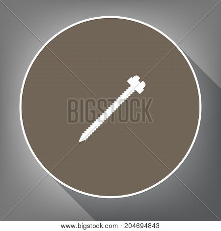 Screw sign illustration. Vector. White icon on brown circle with white contour and long shadow at gray background. Like top view on postament.