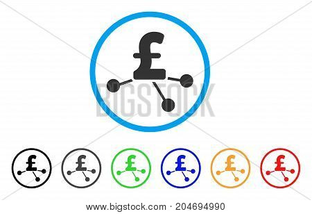 Pound Bank Branches rounded icon. Style is a flat pound bank branches grey symbol inside light blue circle with black, gray, green, blue, red, orange versions.