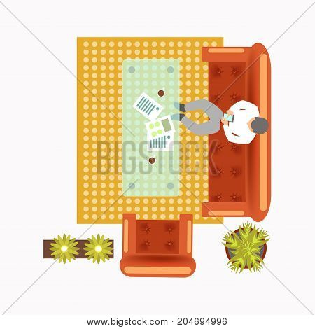 Lounge zone at office with worker that sits on comfortable couch with smartphone, small armchair, soft carpet and plants in pots view from top isolated cartoon vector illustration on white background.