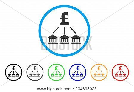 Pound Bank Organization rounded icon. Style is a flat pound bank organization gray symbol inside light blue circle with black, gray, green, blue, red, orange versions.