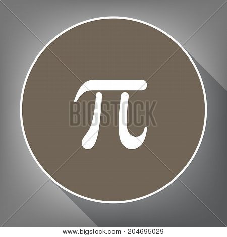 Pi greek letter sign. Vector. White icon on brown circle with white contour and long shadow at gray background. Like top view on postament.