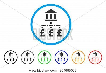 Pound Bank Payments rounded icon. Style is a flat pound bank payments gray symbol inside light blue circle with black, gray, green, blue, red, orange versions.