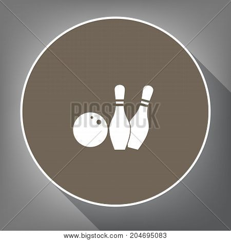 Bowling sign illustration. Vector. White icon on brown circle with white contour and long shadow at gray background. Like top view on postament.