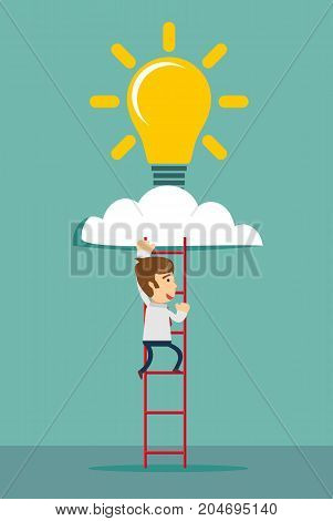 a man climbs the stairs for inspiration - Ladder and cloud with idea light bulb. Success concept. Flat design. Vector illustration.