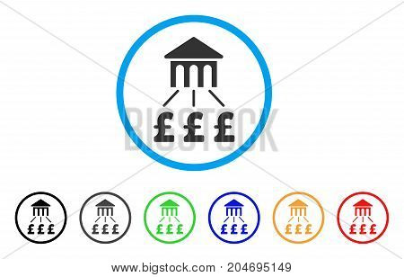 Pound Bank Structure rounded icon. Style is a flat pound bank structure gray symbol inside light blue circle with black, gray, green, blue, red, orange color versions.