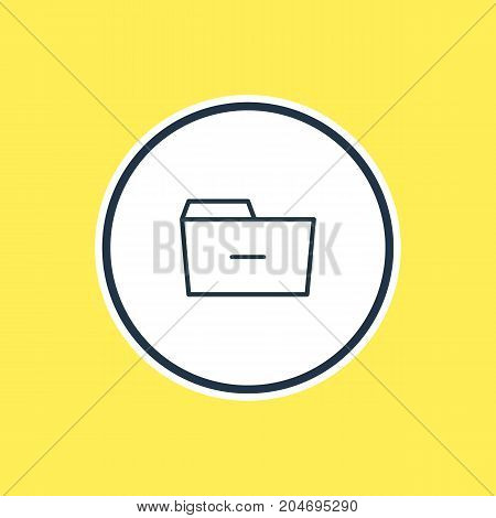 Beautiful Folder Element Also Can Be Used As Minus  Element.  Vector Illustration Of Remove Outline.